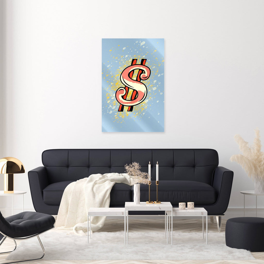 """Dollar Azure"" - Glass Print - HYLUS Acrylic Glass Art - Skateboards, Surfboards & Glass Prints Wall Decor for your Home."