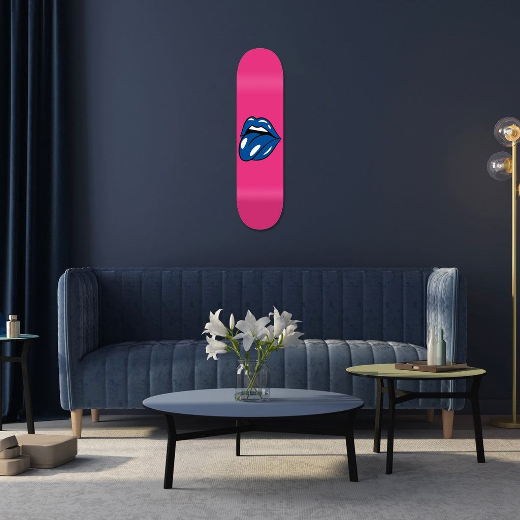 """Lips Pink"" - Skateboard - HYLUS Acrylic Glass Art - Skateboards, Surfboards & Glass Prints Wall Decor for your Home."