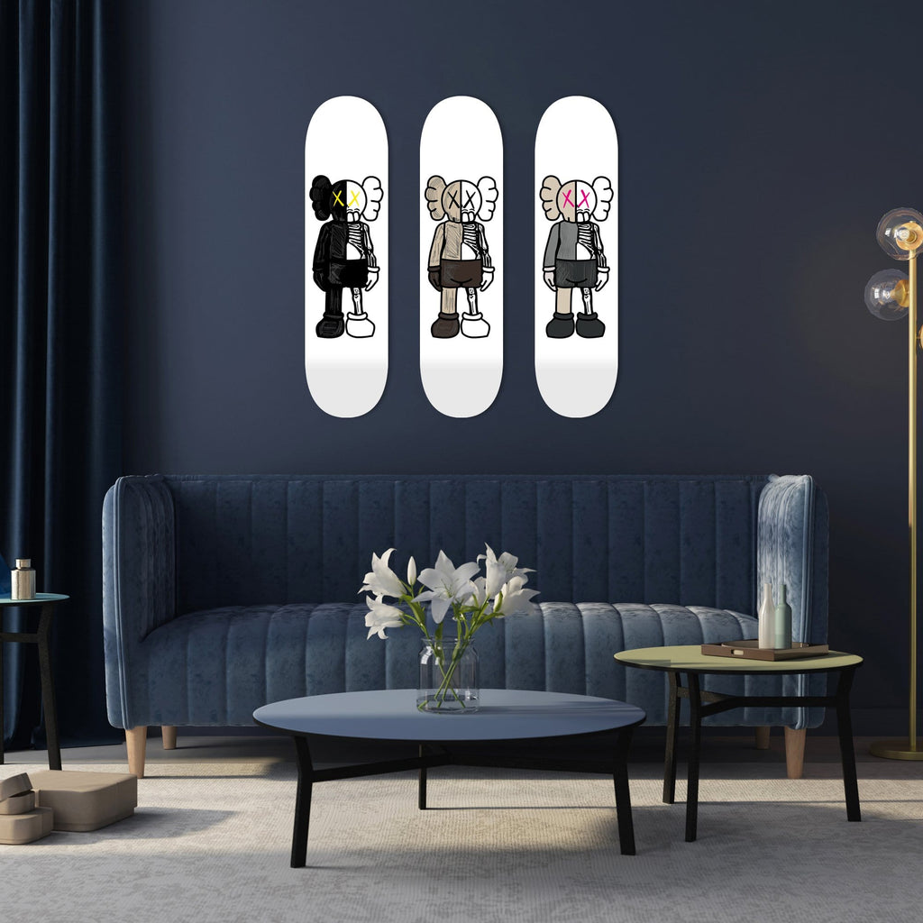 "Bundle: ""Black & Brown & White Pink Buddy"" - Skateboard - HYLUS Acrylic Glass Art - Skateboards, Surfboards & Glass Prints Wall Decor for your Home."