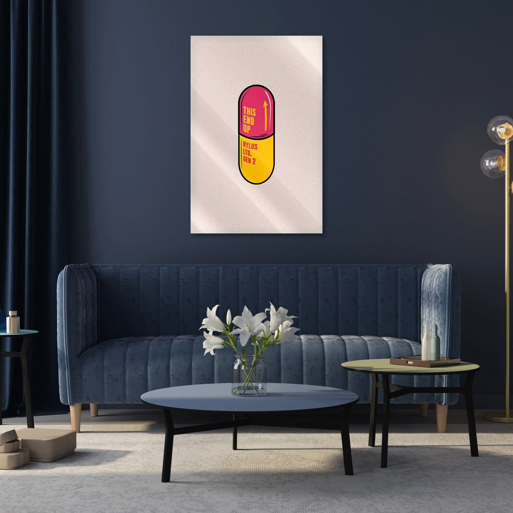 """Pill Red"" - Glass Print - HYLUS Acrylic Glass Art - Skateboards, Surfboards & Glass Prints Wall Decor for your Home."