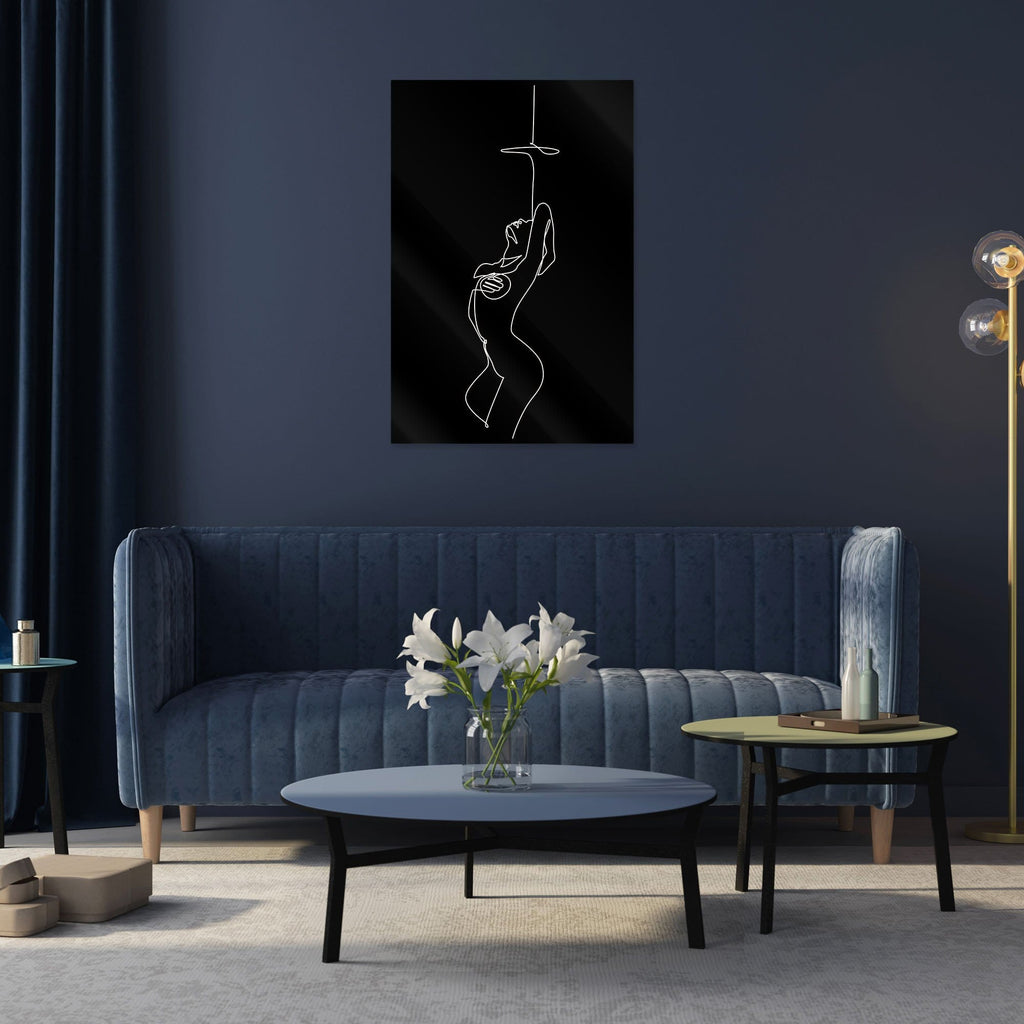 """Sensual Nude Black"" - Glass Print - HYLUS Acrylic Glass Art - Skateboards, Surfboards & Glass Prints Wall Decor for your Home."