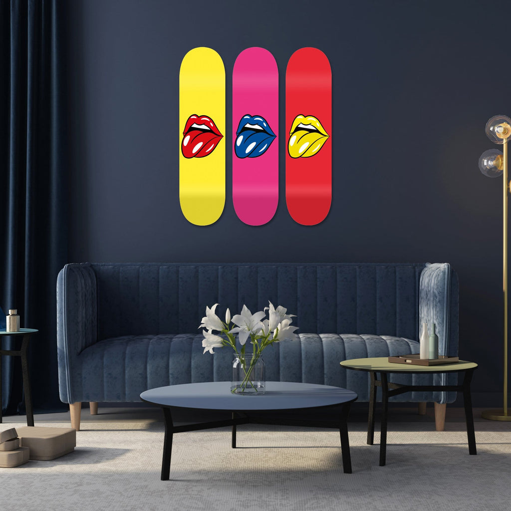 "Bundle: ""Yellow & Pink & Red Lips"" - Skateboard - HYLUS Acrylic Glass Art - Skateboards, Surfboards & Glass Prints Wall Decor for your Home."