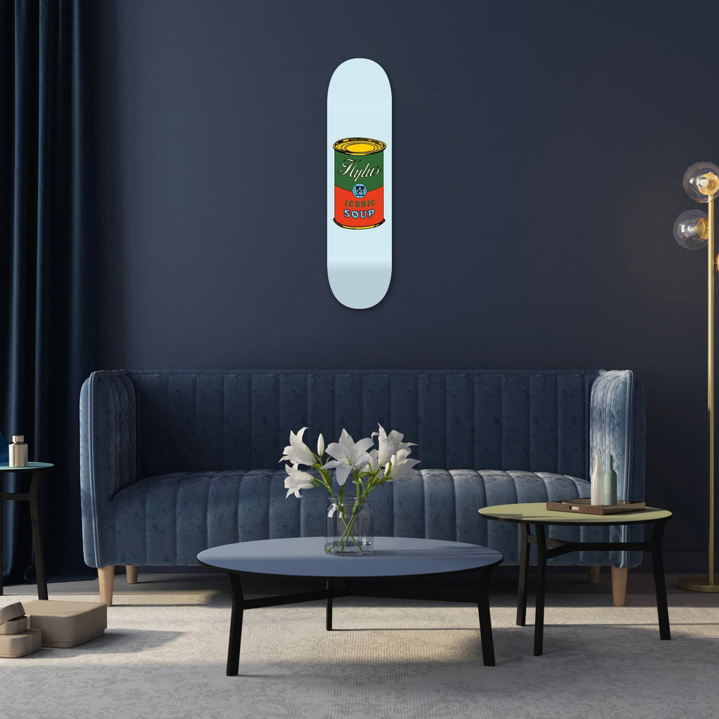 "Bundle: ""Grey & Light Blue & Sand Soup"" - Skateboard - HYLUS Acrylic Glass Art - Skateboards, Surfboards & Glass Prints Wall Decor for your Home."