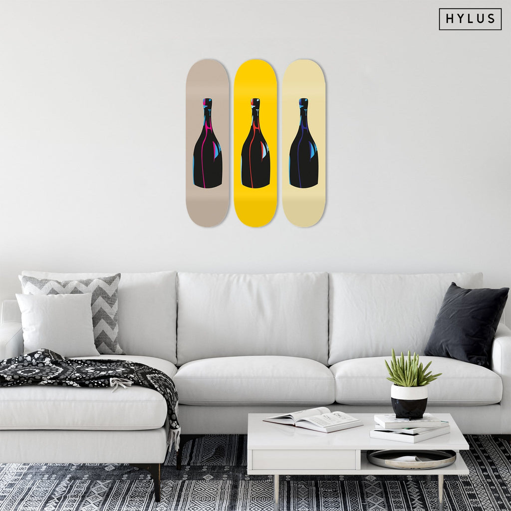 "Bundle: ""Champagne Grey & Yellow & Sand"" - Skateboard - HYLUS Acrylic Glass Art - Skateboards, Surfboards & Glass Prints Wall Decor for your Home."