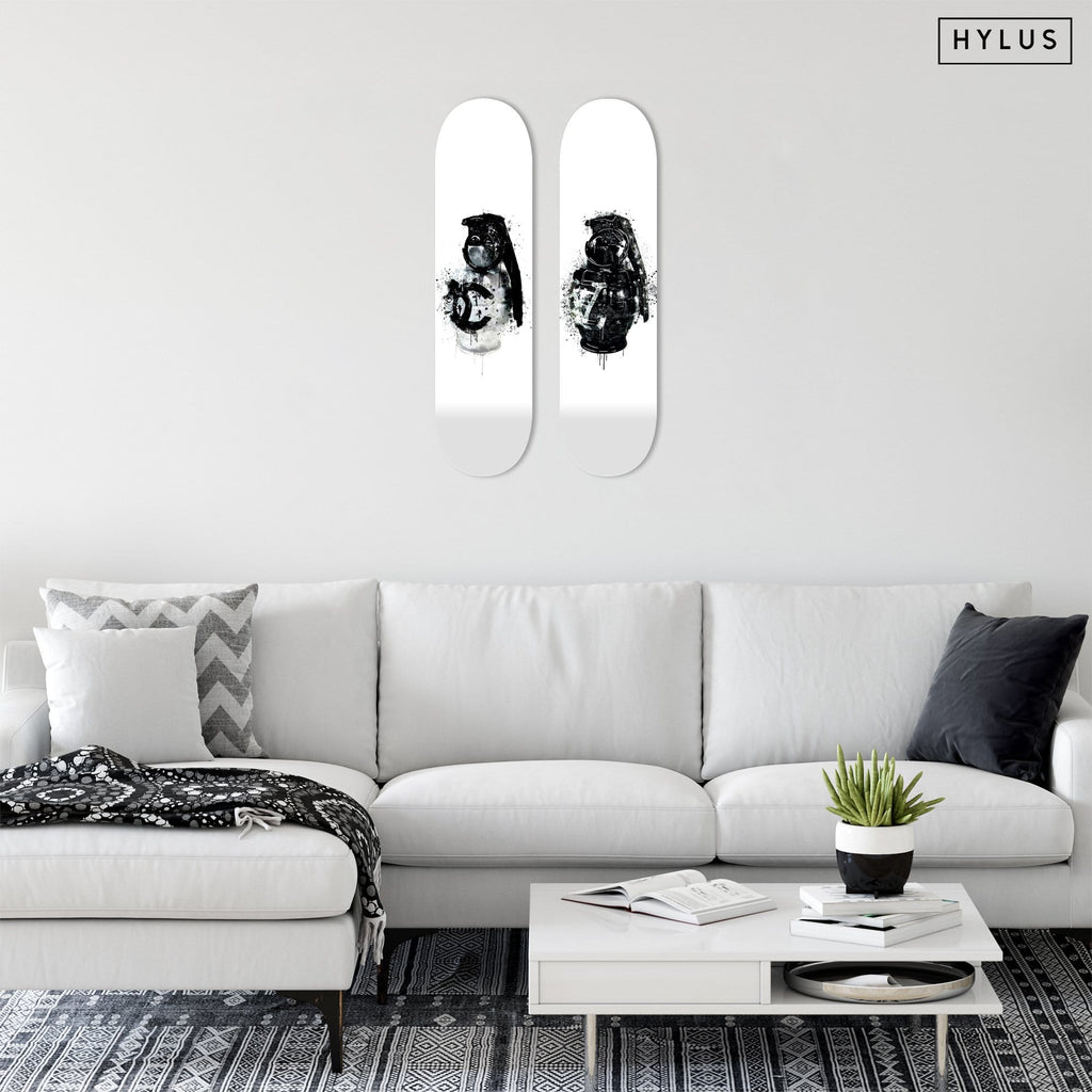 "Bundle: ""Luxury Grenade White & Black"" - Skateboard - HYLUS Acrylic Glass Art - Skateboards, Surfboards & Glass Prints Wall Decor for your Home."