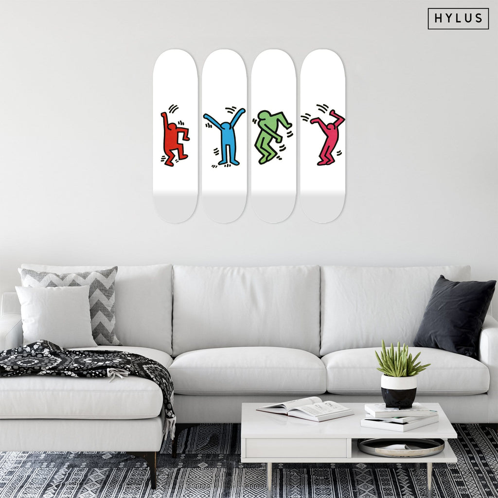 "Bundle: ""Joyful Red & Blue & Green & Magenta"" - Skateboard - HYLUS Acrylic Glass Art - Skateboards, Surfboards & Glass Prints Wall Decor for your Home."