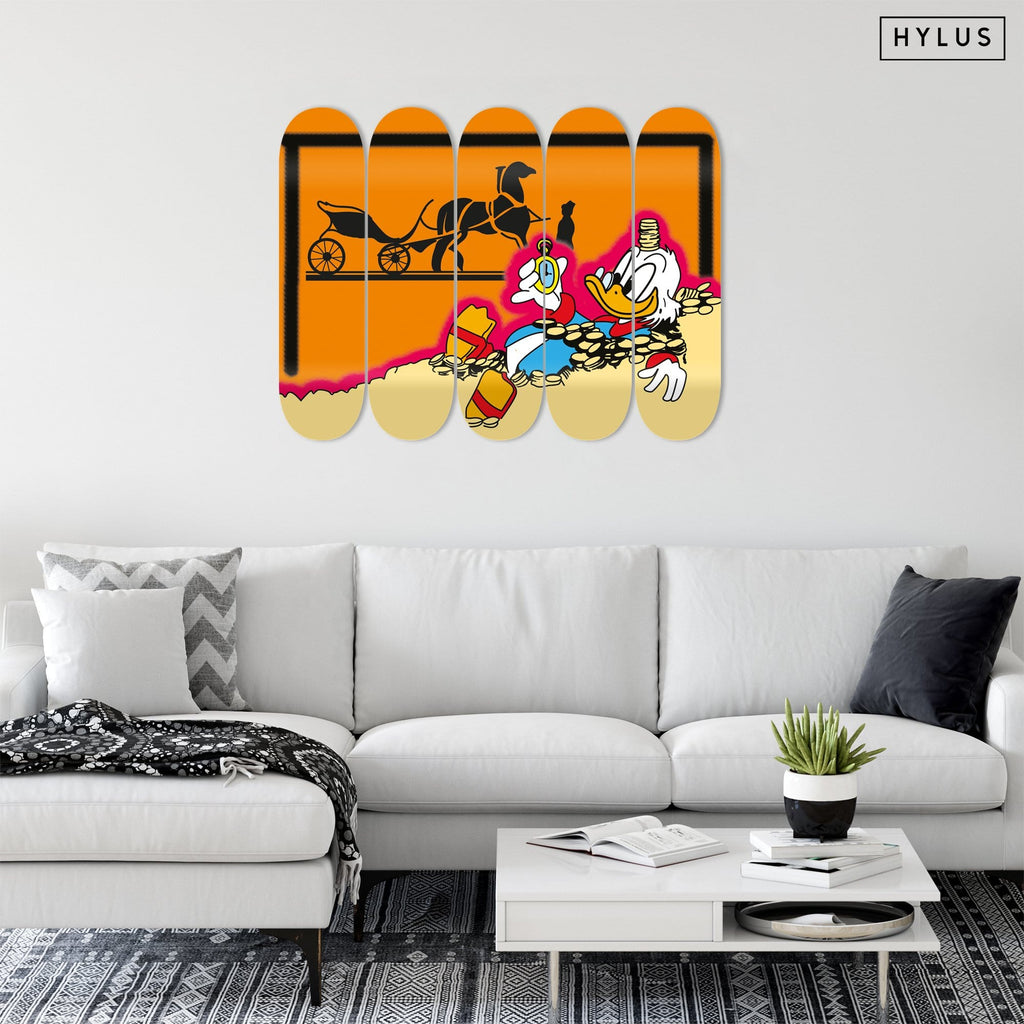 """Swimming in Money"" - Skateboard - HYLUS Acrylic Glass Art - Skateboards, Surfboards & Glass Prints Wall Decor for your Home."