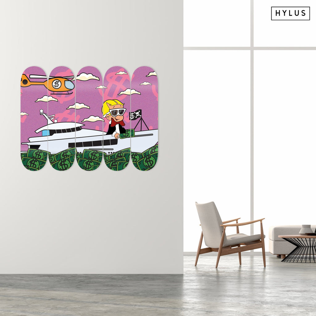 """Richie's Money Yacht"" - Skateboard - HYLUS Acrylic Glass Art - Skateboards, Surfboards & Glass Prints Wall Decor for your Home."