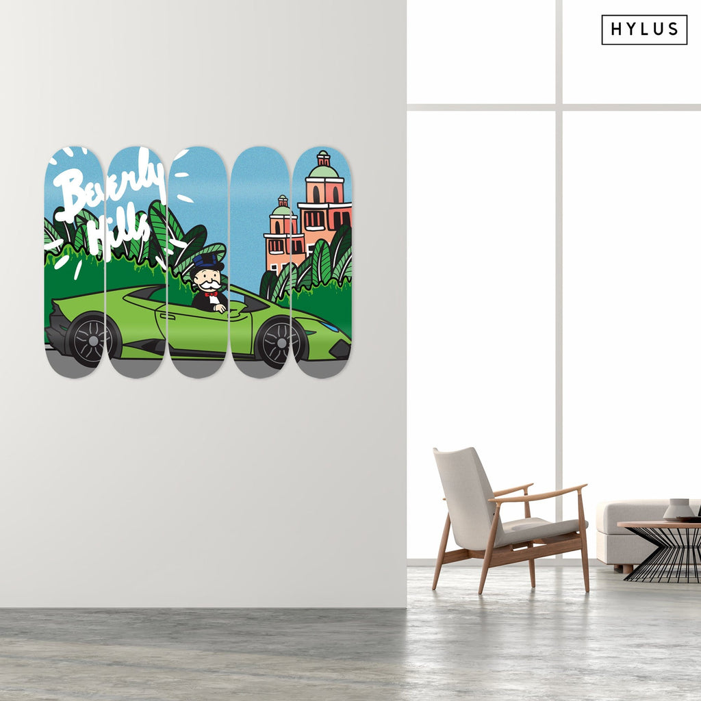 """Beverly Hills Lambo"" - Skateboard - HYLUS Acrylic Glass Art - Skateboards, Surfboards & Glass Prints Wall Decor for your Home."