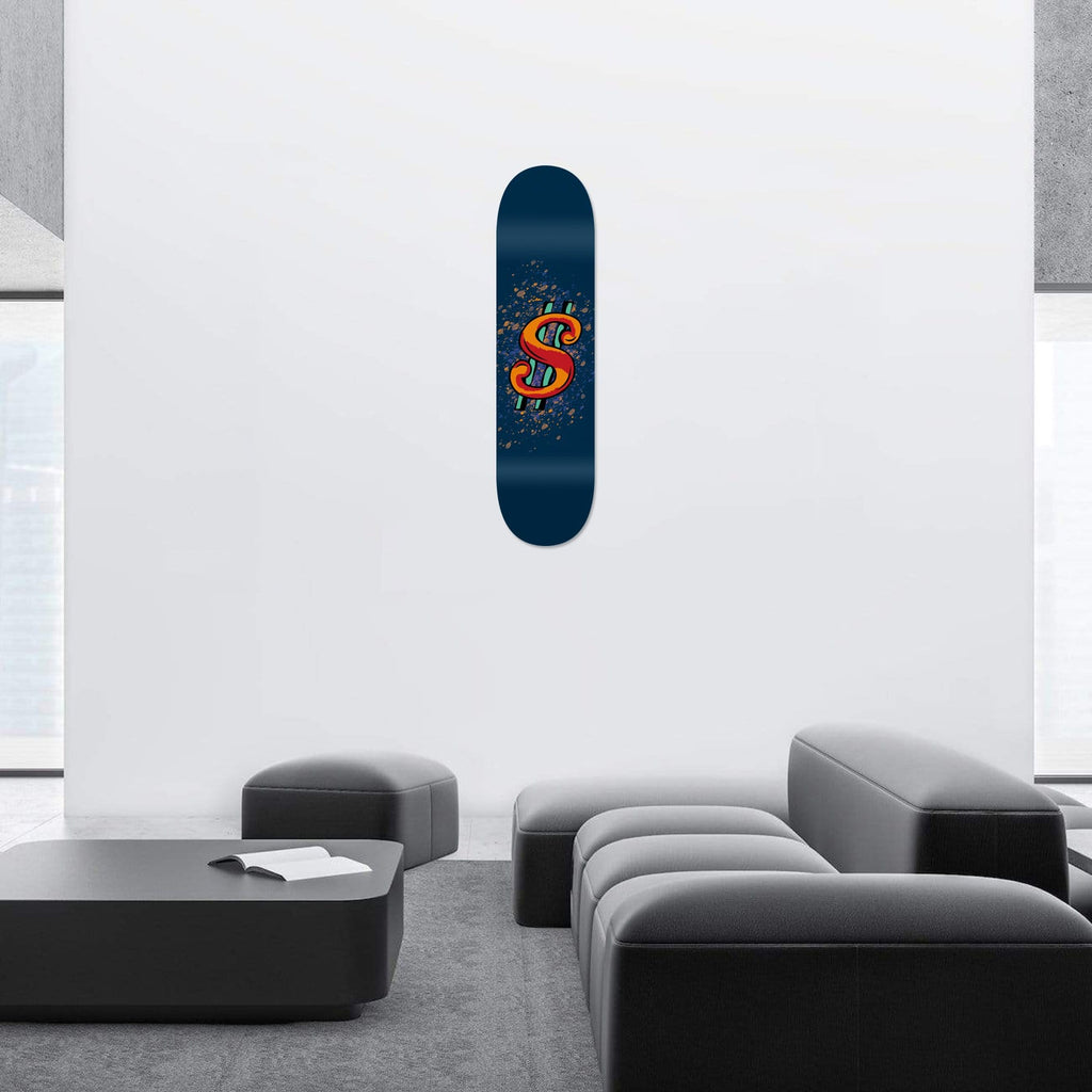 """Dollar Blue"" - Skateboard - HYLUS Acrylic Glass Art - Skateboards, Surfboards & Glass Prints Wall Decor for your Home."