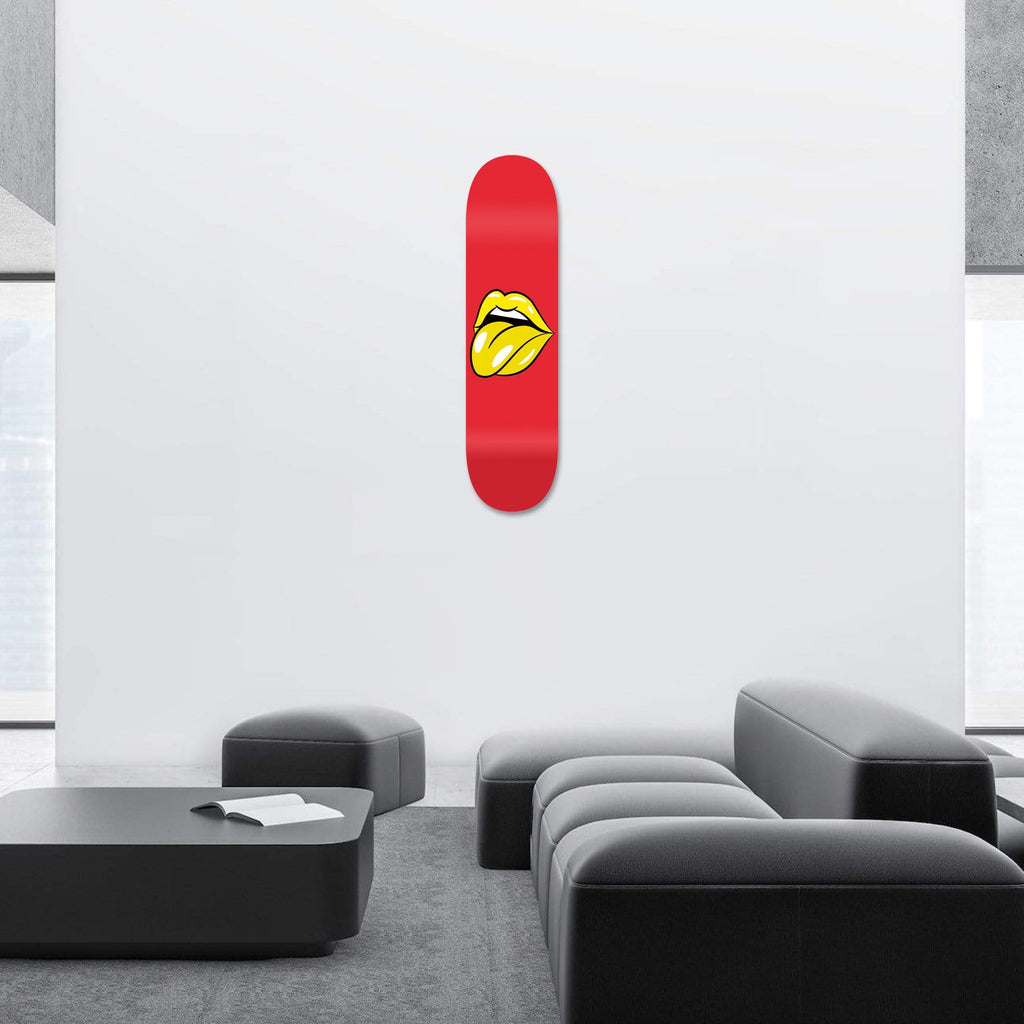 """Lips Red"" - Skateboard - HYLUS Acrylic Glass Art - Skateboards, Surfboards & Glass Prints Wall Decor for your Home."