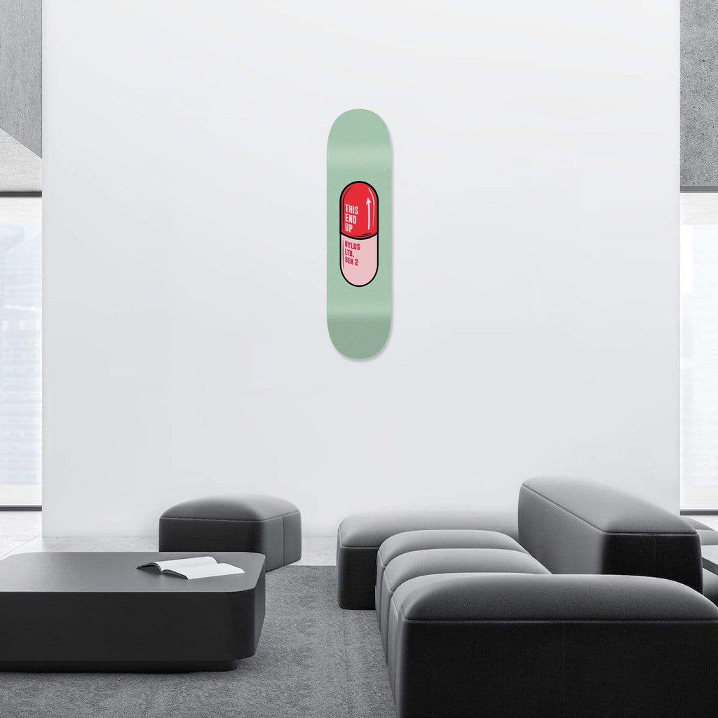 """Pill Green"" - Skateboard - HYLUS Acrylic Glass Art - Skateboards, Surfboards & Glass Prints Wall Decor for your Home."