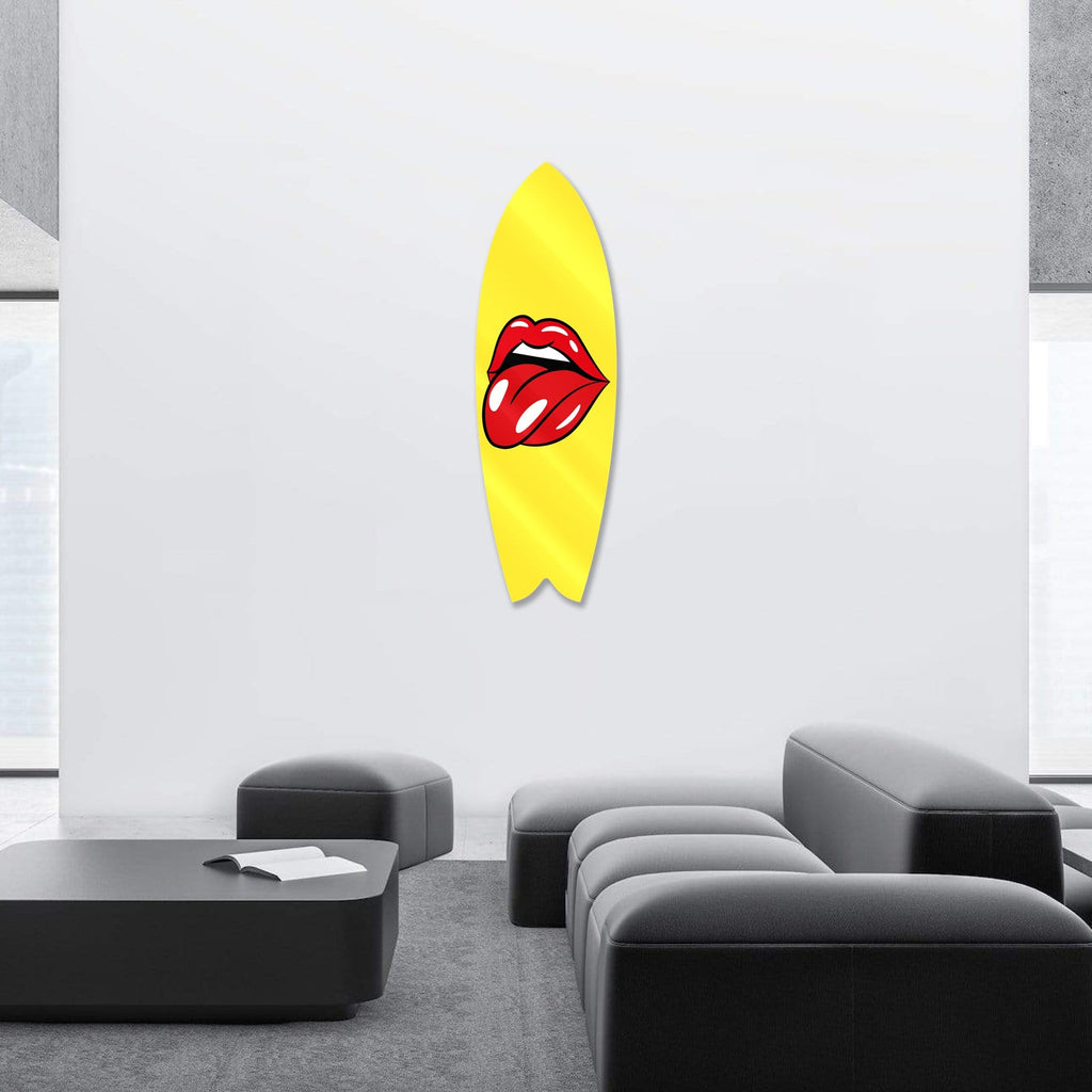 """Lips Yellow"" - Surfboard - HYLUS Acrylic Glass Art - Skateboards, Surfboards & Glass Prints Wall Decor for your Home."