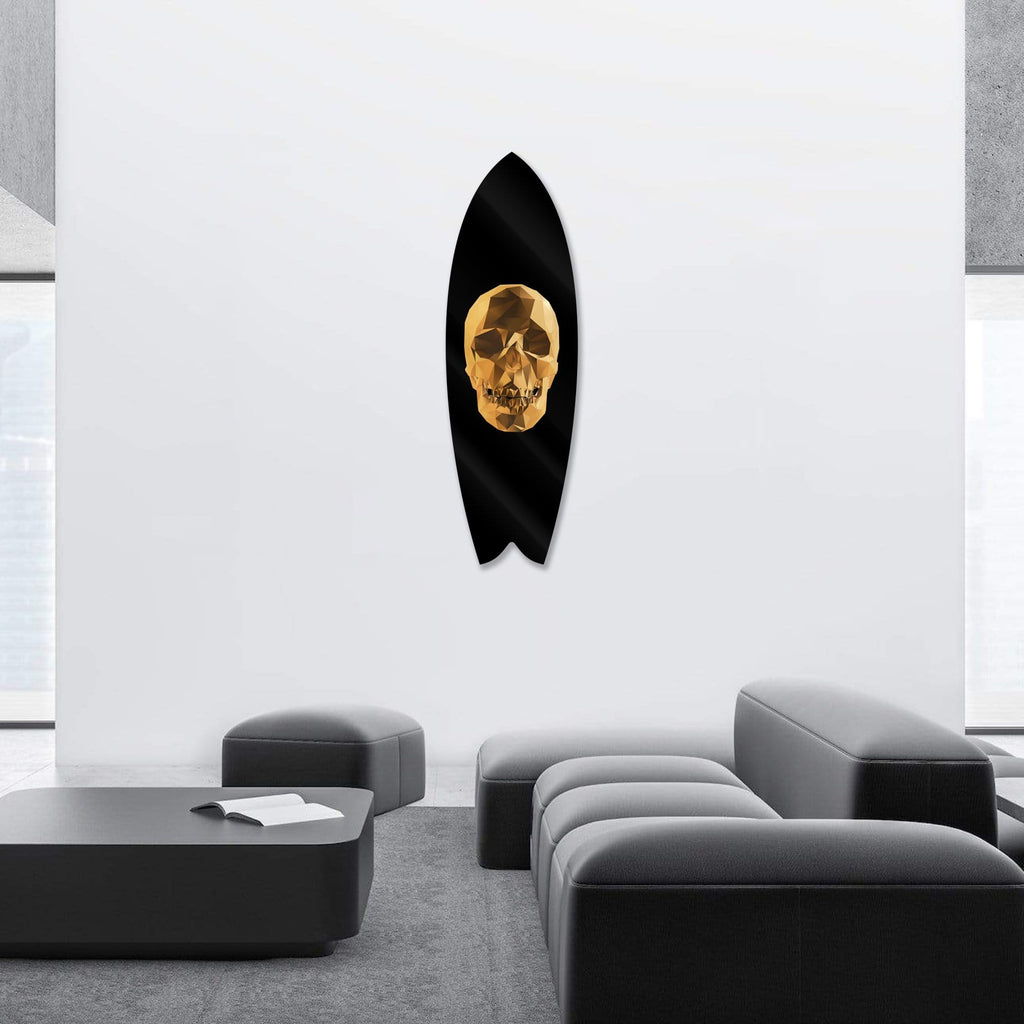 """Gold Skull"" - Surfboard - HYLUS Acrylic Glass Art - Skateboards, Surfboards & Glass Prints Wall Decor for your Home."