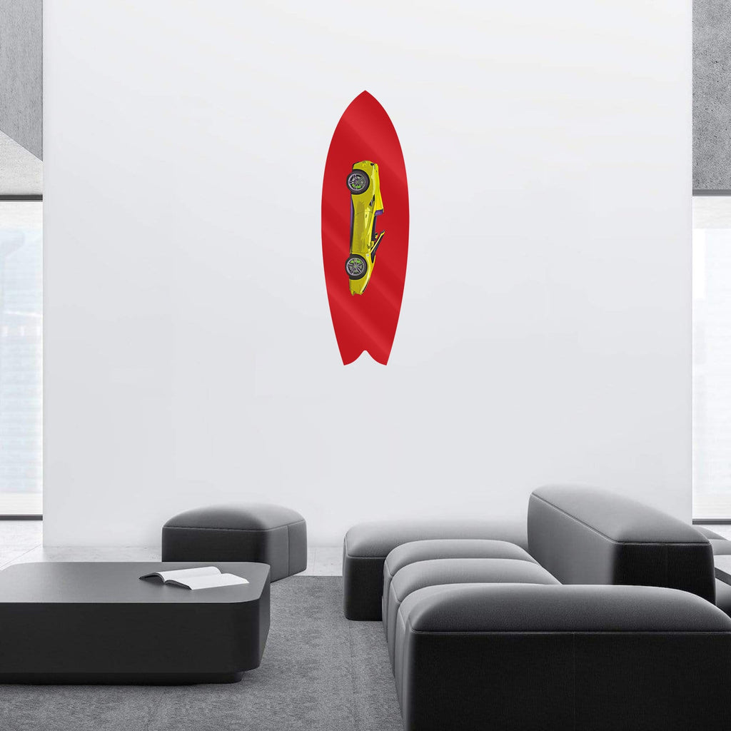 "HYLUS X Lord Aleem: ""Rari Red"" - Surfboard - HYLUS Acrylic Glass Art - Skateboards, Surfboards & Glass Prints Wall Decor for your Home."