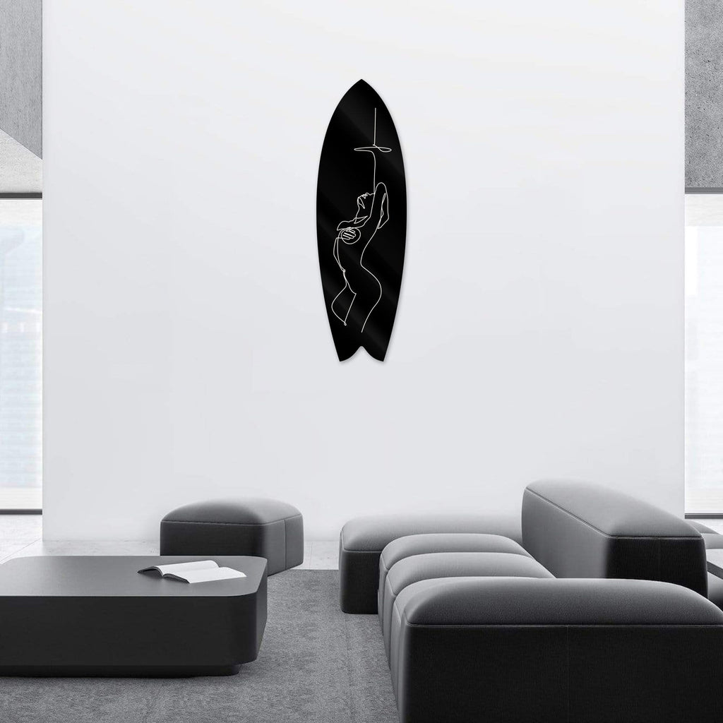 """Sensual Nude Black"" - Surfboard - HYLUS Acrylic Glass Art - Skateboards, Surfboards & Glass Prints Wall Decor for your Home."