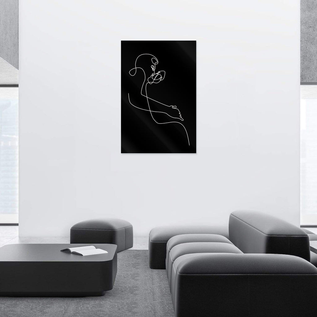 """Sensual Kiss Black"" - Glass Print - HYLUS Acrylic Glass Art - Skateboards, Surfboards & Glass Prints Wall Decor for your Home."