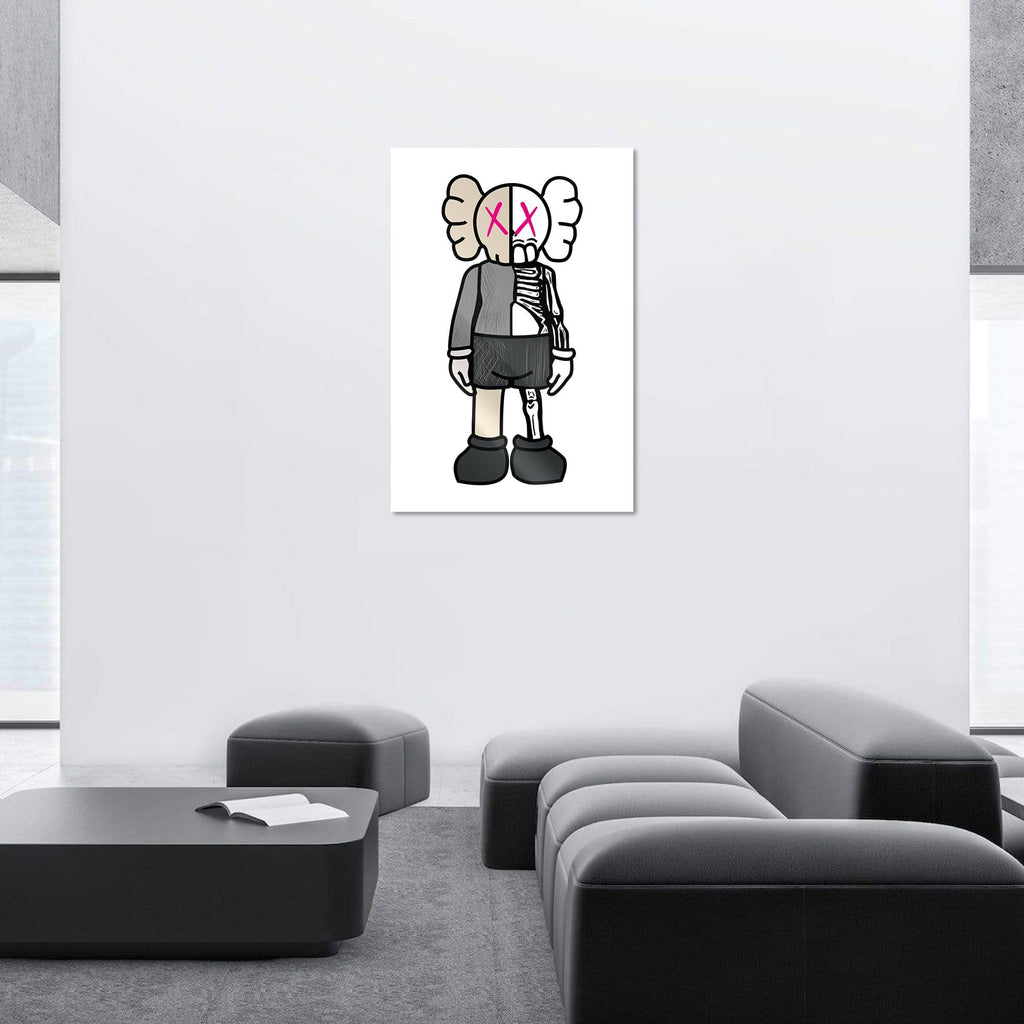 "Bundle: ""Black & Brown & White Pink Buddy"" - Glass Print - HYLUS Acrylic Glass Art - Skateboards, Surfboards & Glass Prints Wall Decor for your Home."