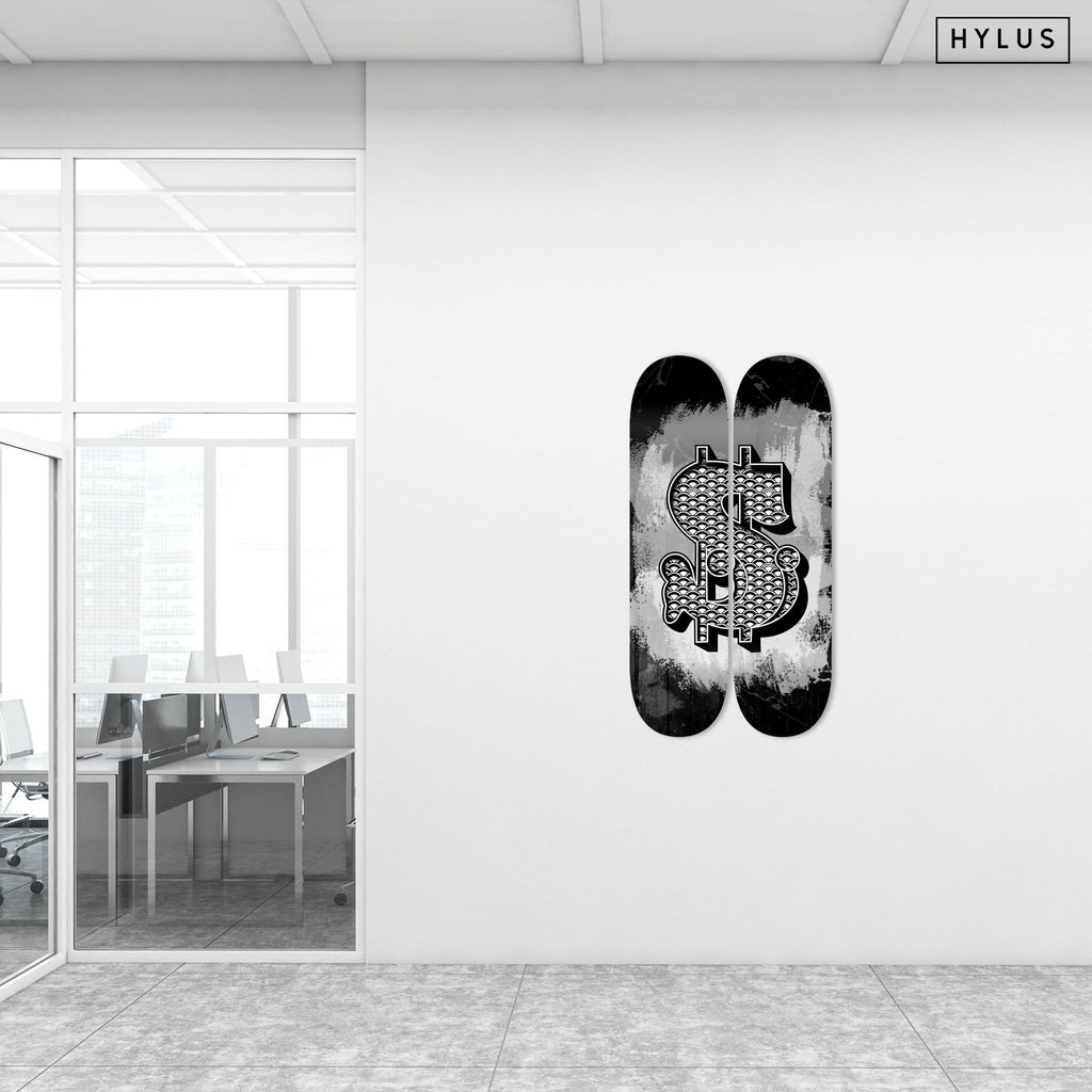 """Dolla Sign"" - Skateboard - HYLUS Acrylic Glass Art - Skateboards, Surfboards & Glass Prints Wall Decor for your Home."