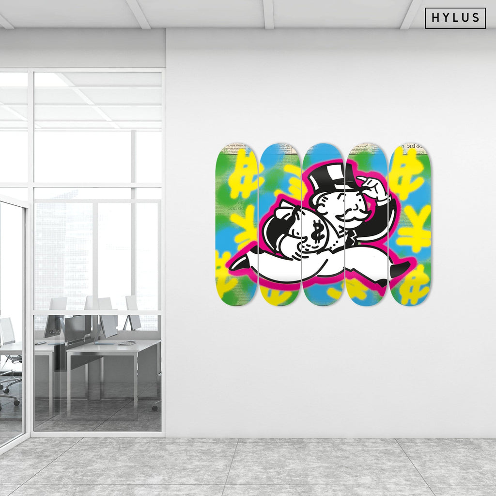 """Time is Money"" - Skateboard - HYLUS Acrylic Glass Art - Skateboards, Surfboards & Glass Prints Wall Decor for your Home."