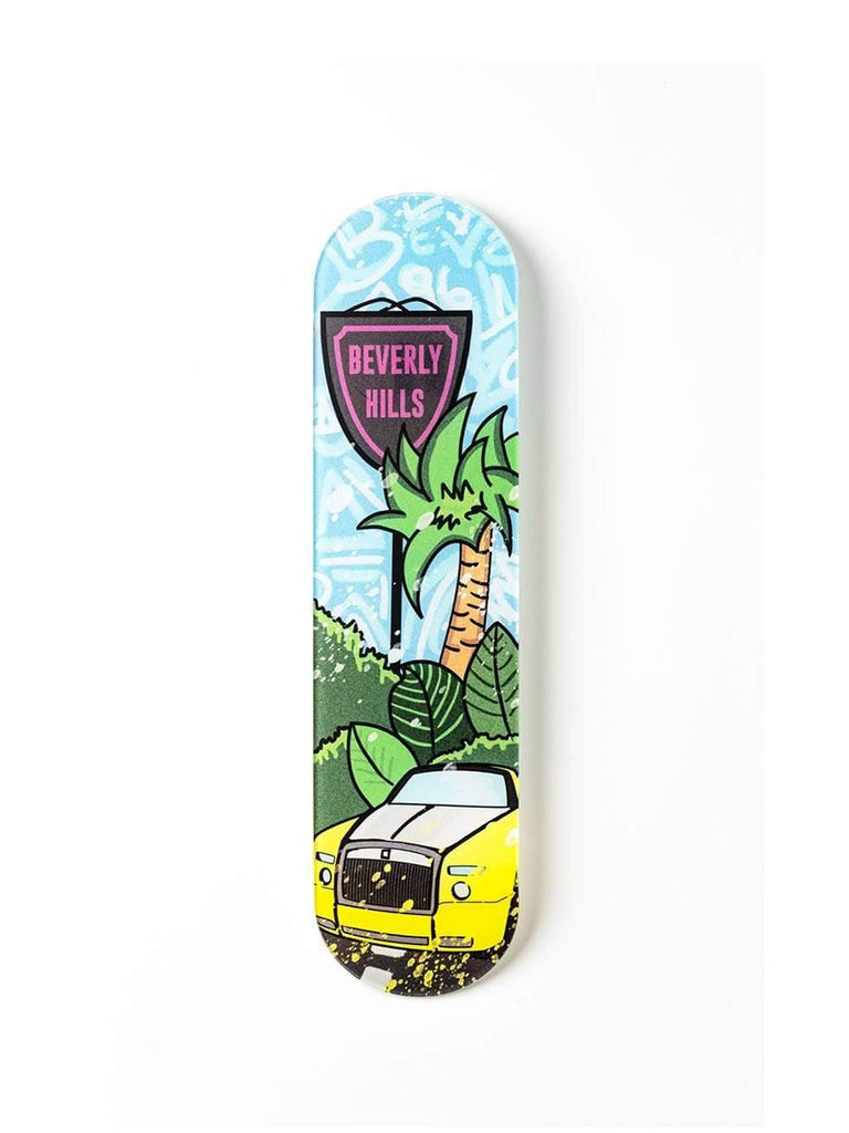 """Beverly Hills: Double R"" - Skateboard - HYLUS Acrylic Glass Art - Skateboards, Surfboards & Glass Prints Wall Decor for your Home."