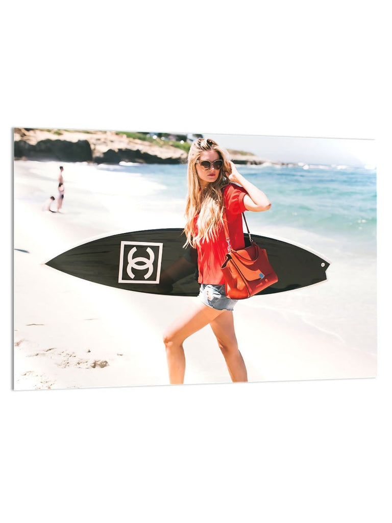 """Surf Girl"" - Glass Print - HYLUS Acrylic Glass Art - Skateboards, Surfboards & Glass Prints Wall Decor for your Home."