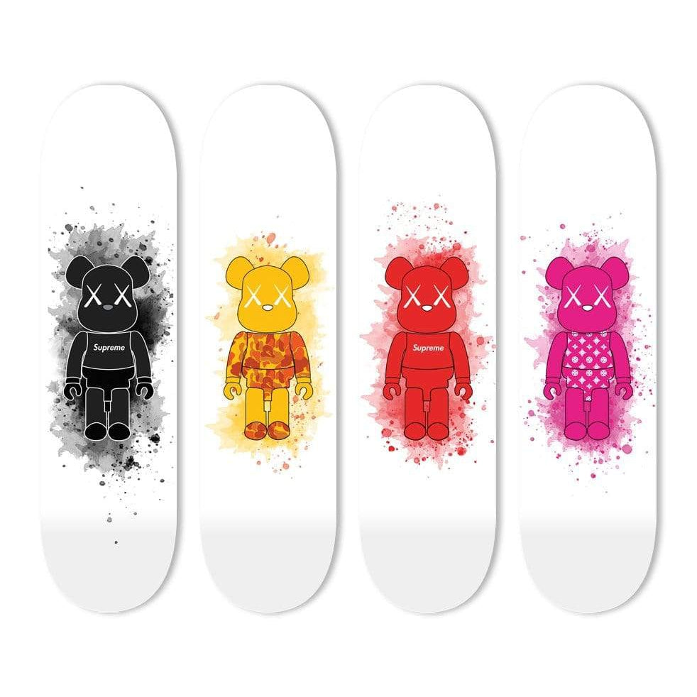 "Bundle: ""Sup Black & Camo Orange & Sup Red & Diamonds Pink Toy Figure"" - Skateboard - HYLUS Acrylic Glass Art - Skateboards, Surfboards & Glass Prints Wall Decor for your Home."