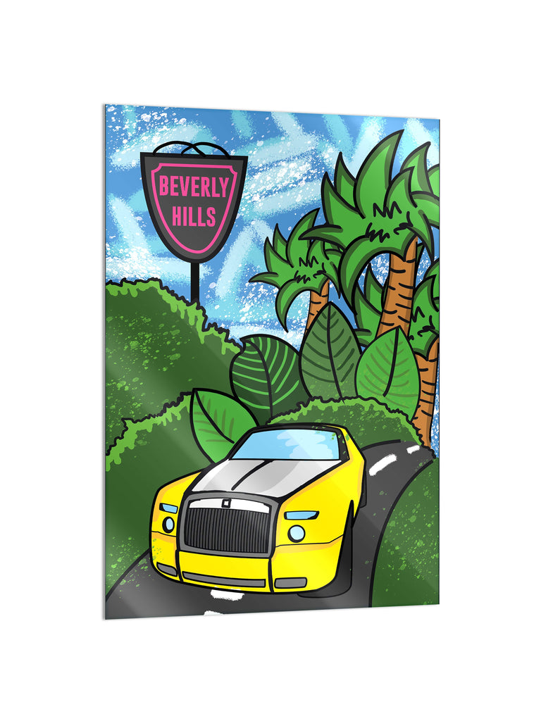 "Bundle: ""Beverly Hills: Palm Mansion & City Hall & Double R"" - Glass Print - HYLUS Acrylic Glass Art - Skateboards, Surfboards & Glass Prints Wall Decor for your Home."