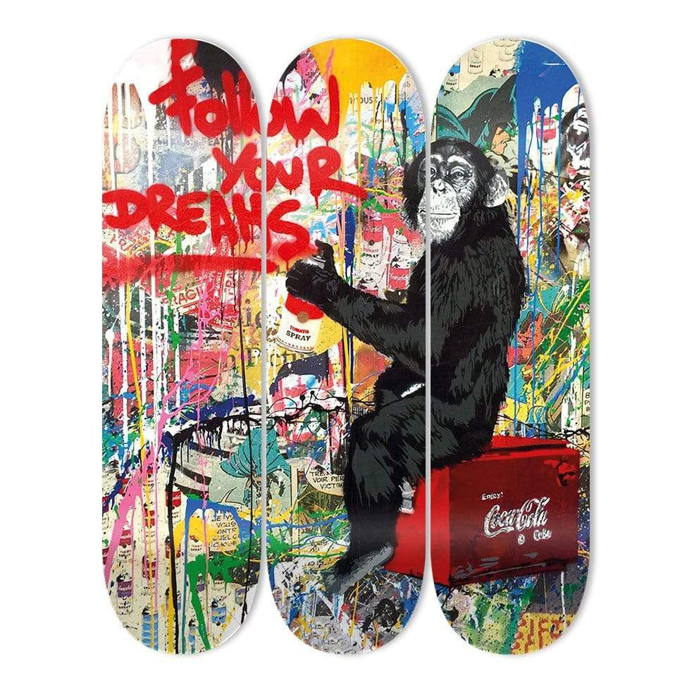 """Follow Your Dreams"" - Skateboard - HYLUS Acrylic Glass Art - Skateboards, Surfboards & Glass Prints Wall Decor for your Home."