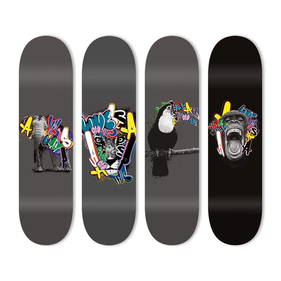 "Bundle: ""Graffiti Elephant & Leopard & Toucan & Monkey"" - Skateboard - HYLUS Acrylic Glass Art - Skateboards, Surfboards & Glass Prints Wall Decor for your Home."