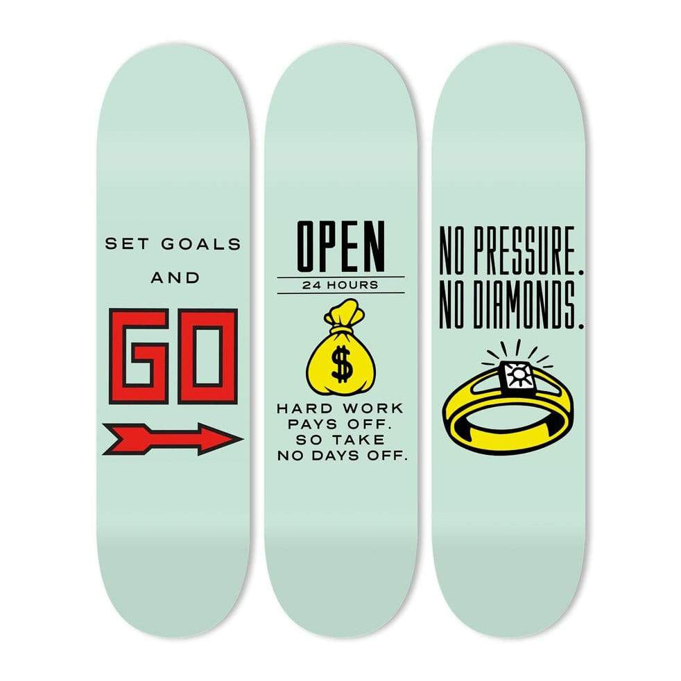 "Bundle: ""Set Goals & Open 24/7 & No Pressure"" - Skateboard - HYLUS Acrylic Glass Art - Skateboards, Surfboards & Glass Prints Wall Decor for your Home."