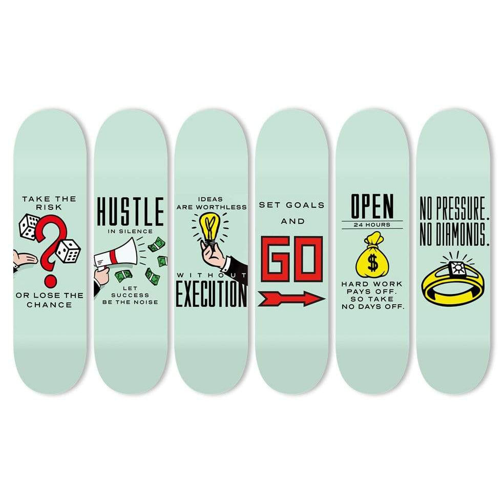 "Bundle: ""Motivation King"" - Skateboard - HYLUS Acrylic Glass Art - Skateboards, Surfboards & Glass Prints Wall Decor for your Home."