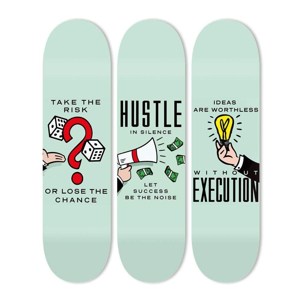"Bundle: ""Take the Risk & Hustle in Silence & Execution"" - Skateboard - HYLUS Acrylic Glass Art - Skateboards, Surfboards & Glass Prints Wall Decor for your Home."