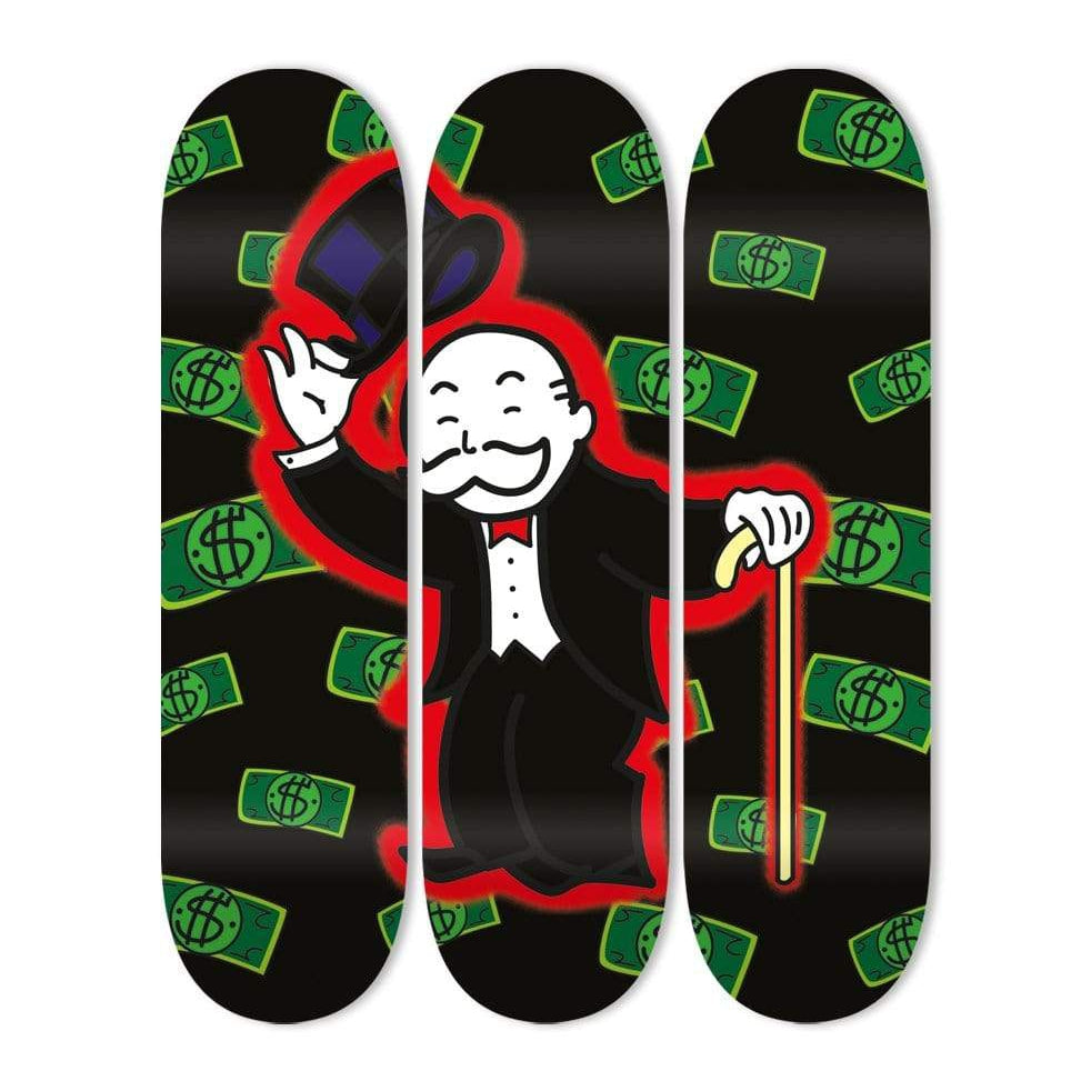 """Money Salute"" - Skateboard - HYLUS Acrylic Glass Art - Skateboards, Surfboards & Glass Prints Wall Decor for your Home."