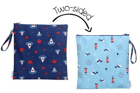 Two-Sided Wet Bag - Shark/Crab/Nautical