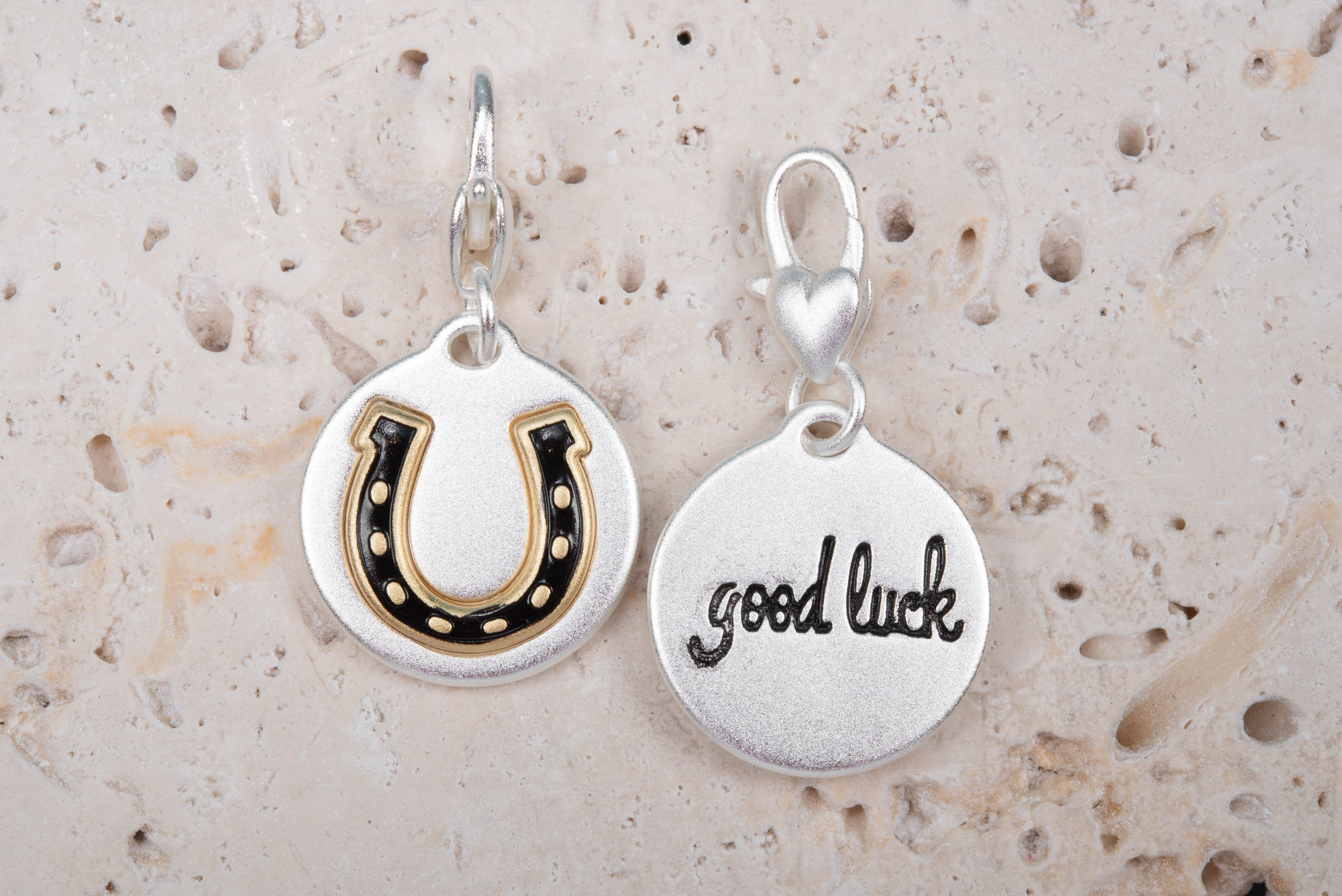 Heartfelt Emotions Silver 2-Tone Medallion - Horse Shoe