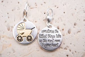 Heartfelt Emotions Silver 2-Tone Medallion - Baby Carriage