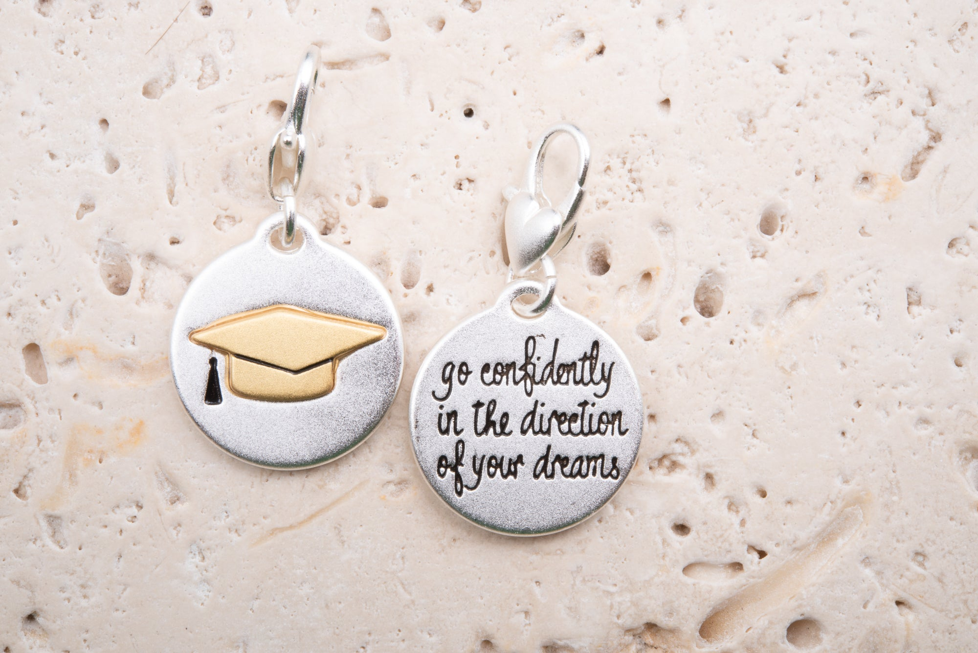 Heartfelt Emotions Silver 2-Tone Medallion - Graduation Hat