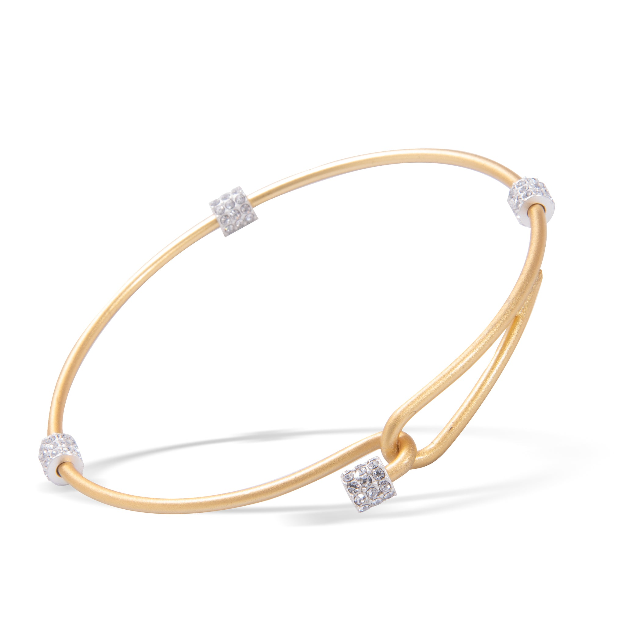 Heartfelt Emotions Crystal Two-Tone Clasp Bangle - Gold with Silver