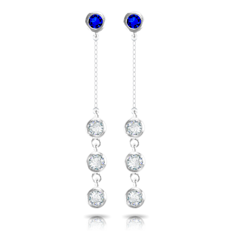 Ice Blu Opal Stud with 3 Drop Earrings - Silver