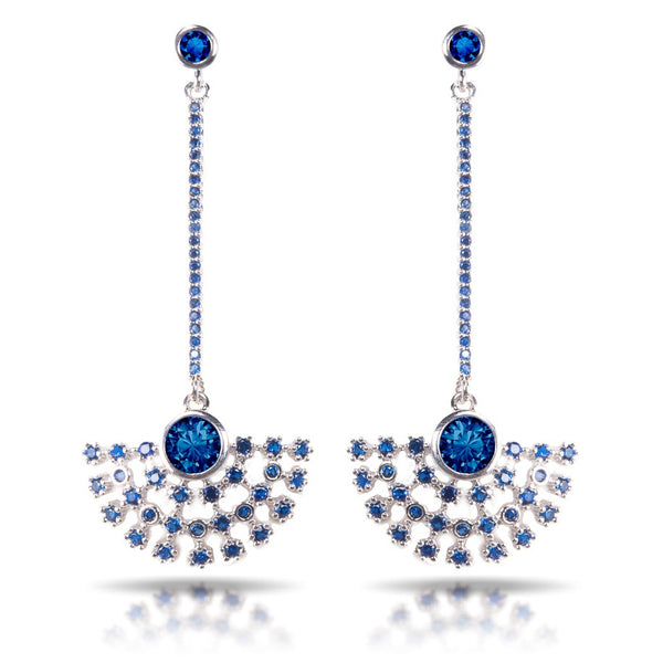 Ice Blu Fan Drop Earrings - Silver
