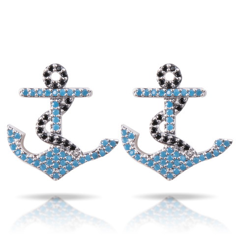 Ice Blu Anchor Earrings