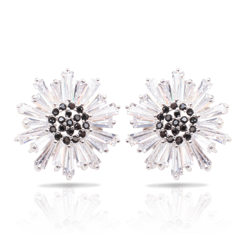 Ice Blu Baguette Flower Earrings - Silver