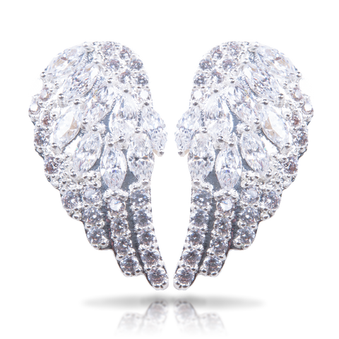 Ice Blu Angel Wings Earrings - Silver