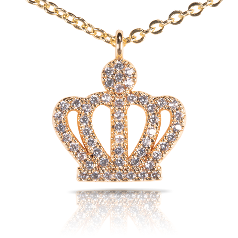 Ice Blu Crown Necklace - Gold