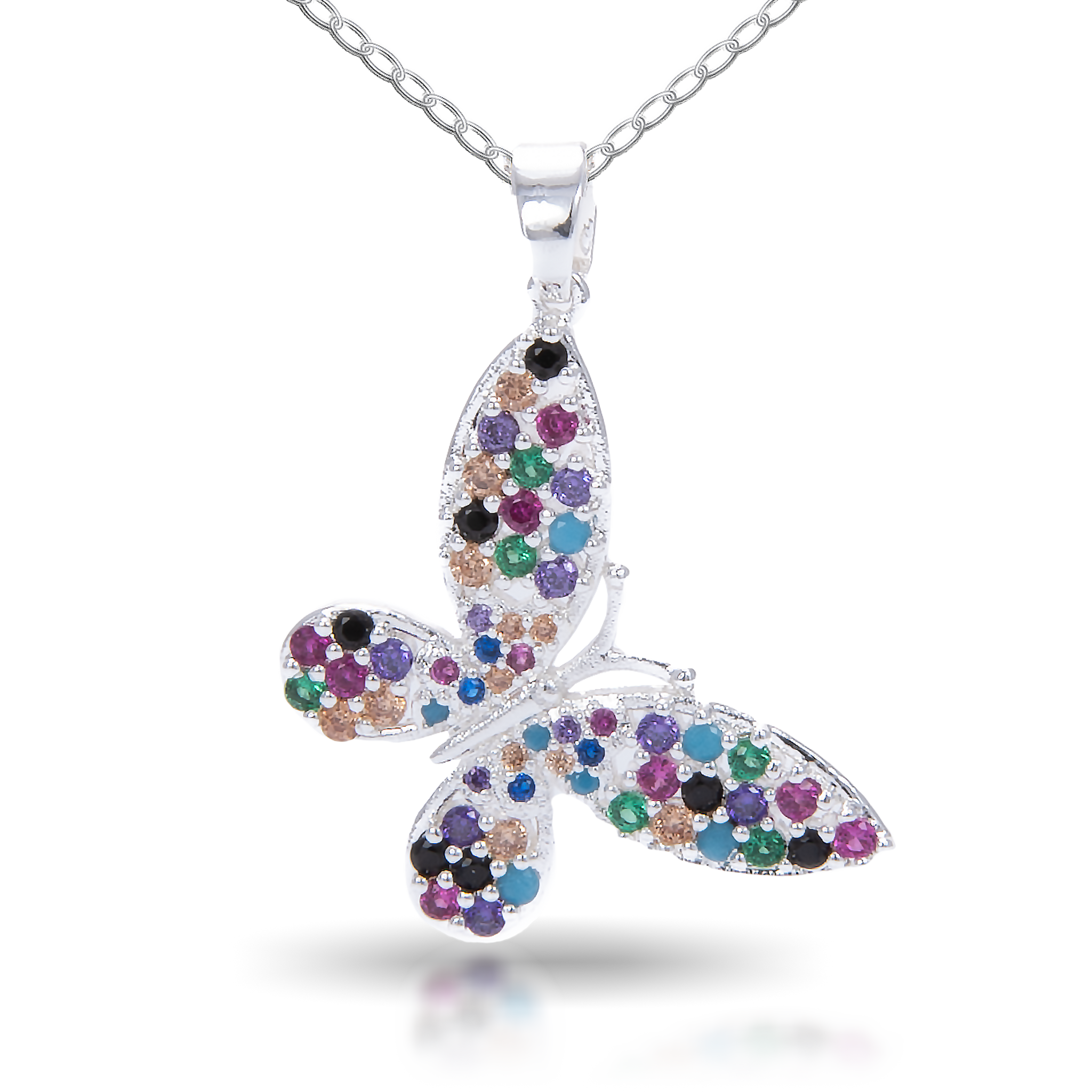 Ice Blu Butterfly Multi Necklace - Silver