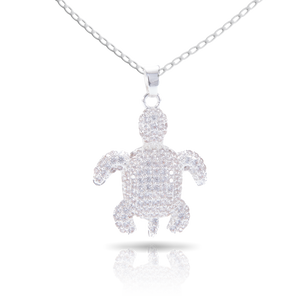 Ice Blu Turtle Necklace - Silver