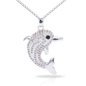 Ice Blu Dolphin Necklace - Silver