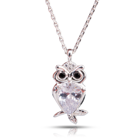 Ice Blu Owl Necklace - Silver