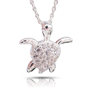 Ice Blu Sea Turtle Necklace - Silver